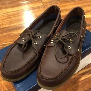 Men's new Sperry brown leather top-sliders